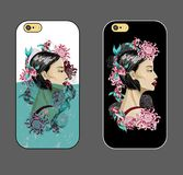 Fall för telefon med den japanska modeflickan i vatten med koifisken och blommor Vektorn danar illustrationen stock illustrationer