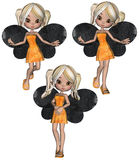 Fall Fairy Cookie Poser. Three images of a fall color cookie themed fairy Royalty Free Stock Photo