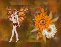 Fall Fairy with Flowers Background. First the fall color background was created with a glass block feel. Next lovely orange and off white flowers were added with royalty free illustration