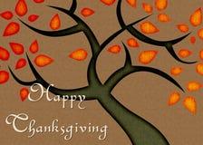 Fall-Farben-Baum-glückliche Danksagungs-Karte Stockfoto