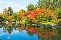 Fall-Farben reflektierten sich im Teich Stockfotos