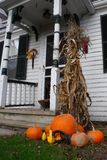 Fall at the farm. An assortment of gourds and Pumpkins in front of a farmhouse at a local farm in sabattus maine Stock Photography
