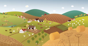 Fall farmer landscape Royalty Free Stock Images