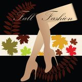 Fall Fashion. Shapely female legs over fall leaves with text stating - Fall Fashion  eye-catching Royalty Free Stock Images