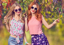 Fall Fashion. Friends Girl Having Fun.Outdoor Park Royalty Free Stock Images