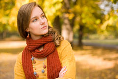 Fall fashion girl pondering. Royalty Free Stock Photography