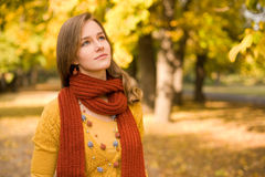 Fall fashion girl pondering. Stock Photography
