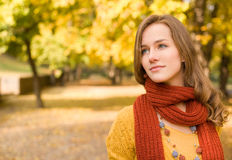 Fall fashion girl pondering. Stock Images