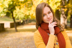 Fall fashion girl pondering. Royalty Free Stock Photos