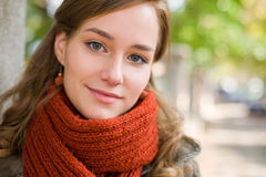 Fall fashion girl posing on the street. Stock Photos