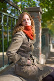 Fall fashion girl posing on the street. Stock Image