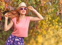 Fall Fashion. Redhead Having Fun. Outdoor Park royalty free stock photos