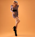 Fall Fashion. Woman Autumn Dress. Long Legs. Retro Stock Photos