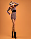 Fall Fashion. Woman Autumn Dress. Long Legs. Retro. Fall Fashion. Model Woman in Autumn fashion Outfit. Stylish Dress Trendy Hat Fashion autumn shoes. Glamour Stock Photography