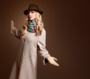 Fall Fashion. Woman in Autumn Outfit. Stylish Coat Royalty Free Stock Image
