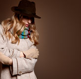 Fall Fashion. Woman in Autumn Outfit. Stylish Coat Royalty Free Stock Images