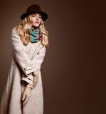 Fall Fashion. Woman in Autumn Outfit. Stylish Coat Royalty Free Stock Photography