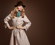 Fall Fashion. Woman in Autumn Outfit. Stylish Coat Royalty Free Stock Photos