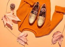Fall Fashion Woman Outfit. Minimal. Autumn Retro Royalty Free Stock Image