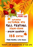 Fall festival of autumn harvest banner template. Fall festival banner for autumn harvest fest template. Fallen leaves of orange maple and chestnut tree foliage Royalty Free Stock Photography