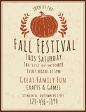 Fall Festival Flyer Template. Simple and retro hand drawn Fall Festival Flyer Royalty Free Stock Images