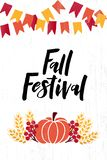 Fall festival hand drawn lettering phrase on background vector illustration