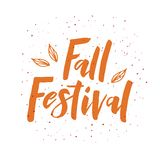 Fall Festival lettering phrase with leaves vector illustration