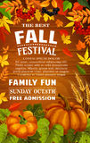 Fall festival poster of autumn harvest template. Fall festival poster with autumn harvest frame on wood background. Pumpkin vegetable and wheat, framed with fall Royalty Free Stock Image