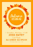 Fall Festival template. Bright colourful autumn leaves on vertical background. Template for holidays, concerts and parties. Autumn theme Stock Photos