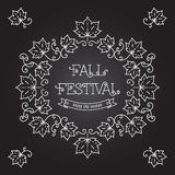 Fall Festival template posters Frame maple leaves Royalty Free Stock Image