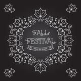 Fall-Festivalschablonenposter Feldahornblätter lizenzfreie abbildung