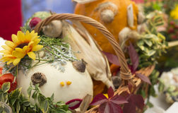 Fall festivities. Ornamented pumpkins .Blurred background Stock Image