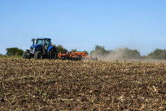Fall field harrowing landscape Stock Images