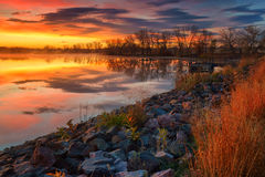 A Fall Fire Sunrise Royalty Free Stock Images