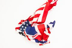 The fall of the flag of the United States and Great Britain Royalty Free Stock Photos