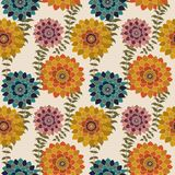 Fall Floral Seamless Pattern, Colorful Autumn flowers Surface Pattern Background Romantic Floral Repeat Pattern for textile design stock illustration