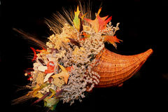 Fall flower arrangement in Hor. Fall flowers and leaves arranged in a Horn O' Plenty Stock Photos