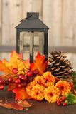 Fall flowers. Fall or autumn flowers, pine cone and berries with orange leaves and lantern on a vintage wooden background stock photography