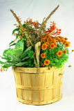 Fall flowers bouquet. Picture of fall flowers and plants in bouquet planted in bushel Stock Photos
