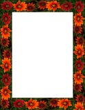Fall Flowers Frame or Border Stock Photo