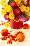 Fall flowers and fruits Royalty Free Stock Images