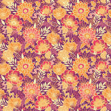 Fall flowers and leaves seamless pattern Royalty Free Stock Photos