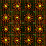 Fall flowers on tweed. Flowers on a tweed back round with green hearts Royalty Free Stock Photos