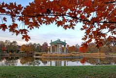 Fall foliage around the Forest Park bandstand in St. Louis, Missouri.  stock photo