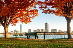 Fall Foliage in Boston, Massachusetts. From across the Charles River Royalty Free Stock Photo