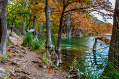 Fall Foliage and Clear Water of Garner State Park, Texas Stock Photo