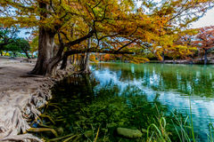Fall Foliage and Emerald Waters of Garner State Park, Texas Stock Photography