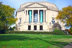 Fall foliage frames the historic Severance Hall in Cleveland, Ohio, USA. stock photos