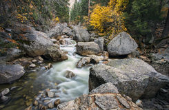 Fall foliage on the Mist Trail at Yosemite National Park Stock Photo