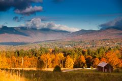 Fall foliage on Mt. Mansfield in Stowe, Vermont, U. Fall foliage landscape with Mt. Mansfield in the background, Stowe, Vermont, USA royalty free stock photo